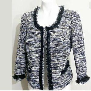 INC Size M Tweed Jacket Blazer Cropped 3/4 Sleeve